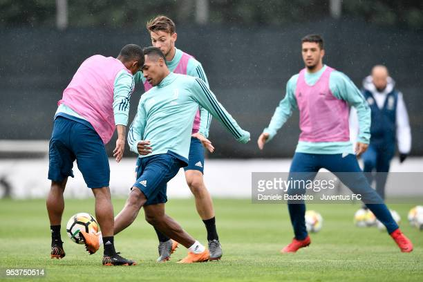 Alex Sandro during the Juventus training session at Juventus Center Vinovo on May 2 2018 in Vinovo Italy