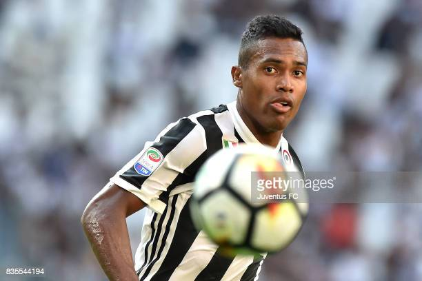 Alex Sandro in action during the Serie A match between Juventus and Cagliari Calcio at Allianz Stadium on August 19 2017 in Turin Italy