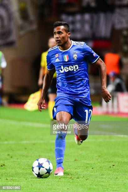 Alex Sandro Lobo Silva of Juventus during the Uefa Champions League match semi final first leg between As Monaco and Juventus FC at Stade Louis II on...