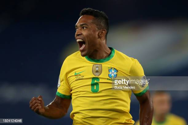 Alex Sandro of Brazil celebrates after scoring the first goal of his team during a match between Brazil and Peru as part of Group B of Copa America...
