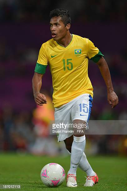 Alex Sandro of Brazil in action during the Olympic games 2012 mens semi final match between Korea and Brazil at Old Trafford on August 7 2012 in...