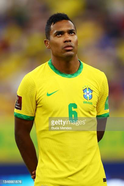 Alex Sandro of Brazil looks on prior to a match between Brazil and Uruguay as part of South American Qualifiers for Qatar 2022 at Arena Amazonia on...