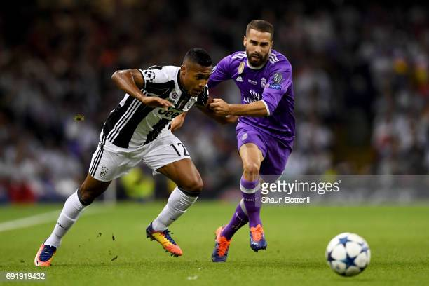 Alex Sandro of Juventus attempts to get past Daniel Carvajal of Real Madrid during the UEFA Champions League Final between Juventus and Real Madrid...