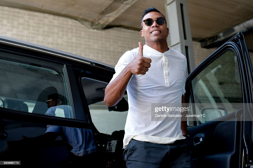 Alex Sandro of Juventus attends medical tests at Jmedical on July 8, 2018 in Turin, Italy.