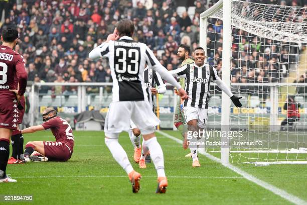 Alex Sandro of Juventus celebrates 01 goal with Federico Bernardeschi during the serie A match between Torino FC and Juventus at Stadio Olimpico di...