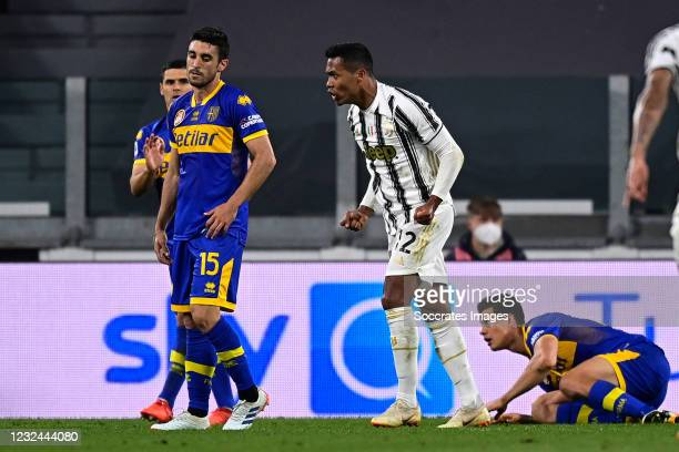 Alex Sandro of Juventus celebrates 1-1 during the Italian Serie A match between Juventus v Parma at the Allianz Stadium on April 21, 2021 in Turin...