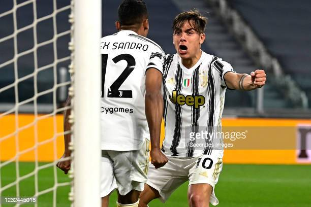 Alex Sandro of Juventus celebrates 2-1 with Paulo Dybala of Juventus during the Italian Serie A match between Juventus v Parma at the Allianz Stadium...