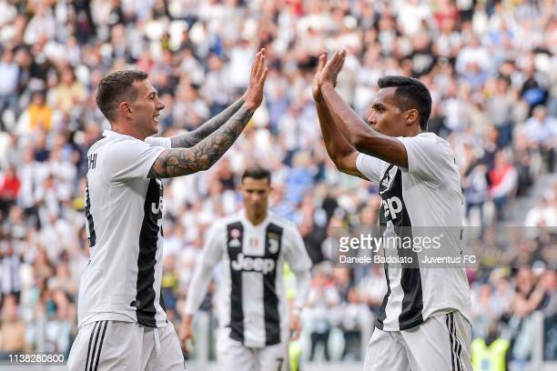 Alex Sandro of Juventus celebrates after his goal of 1-1 with teammate Federico Bernardeschi during the Serie A match between Juventus and ACF...