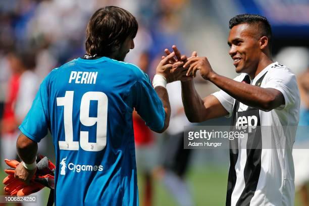 Alex Sandro of Juventus celebrates his game winning goal during penalty kicks with Matlia Perin of Juventus during the International Champions Cup...