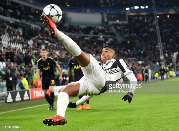 Alex Sandro of Juventus clears the ball during the UEFA Champions League Round of 16 First Leg match between Juventus and Tottenham Hotspur at...