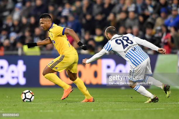 Alex Sandro of Juventus during the serie A match between Spal and Juventus at Stadio Paolo Mazza on March 17 2018 in Ferrara Italy