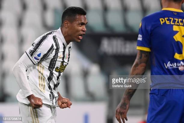 Alex Sandro of Juventus FC celebrates a goal during the Serie A match between Juventus and Parma Calcio at Allianz Stadium on April 21, 2021 in...