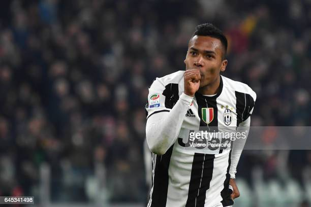Alex Sandro of Juventus FC celebrates a goal during the Serie A match between Juventus FC and Empoli FC at Juventus Stadium on February 25 2017 in...