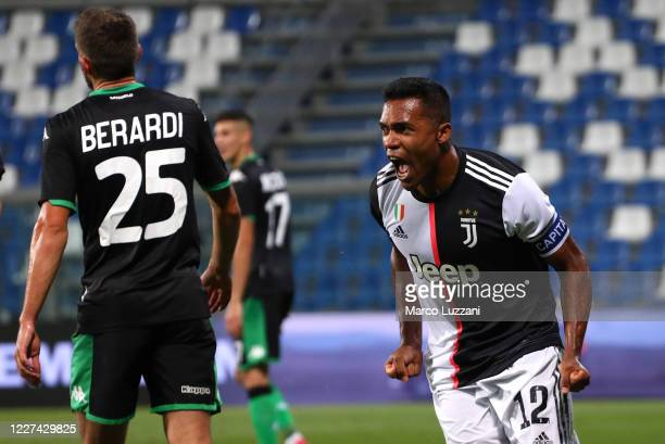 Alex Sandro of Juventus FC celebrates his goal during the Serie A match between US Sassuolo and Juventus at Mapei Stadium Citta del Tricolore on July...
