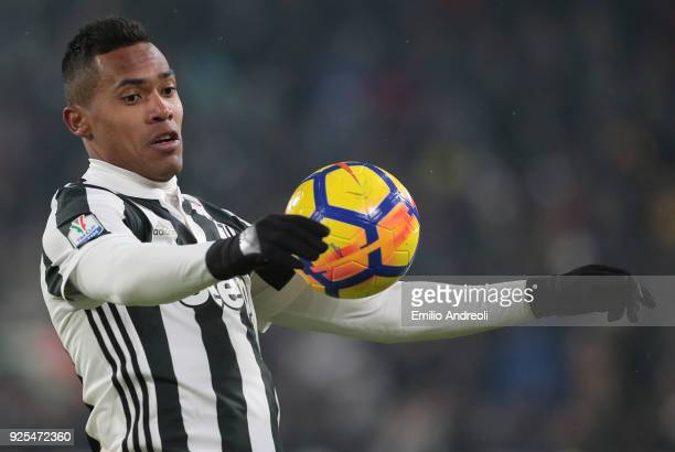 Alex Sandro of Juventus FC controls the ball during the TIM Cup match between Juventus and Atalanta BC at Allianz Stadium on February 28 2018 in...