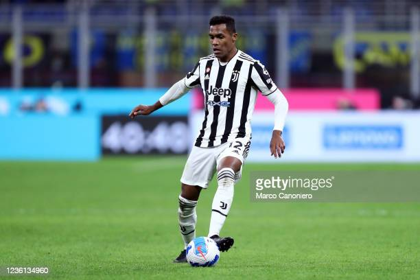Alex Sandro of Juventus Fc in action during the Serie A match between Fc Internazionale and Juventus Fc. The match ends in a tie 1-1.