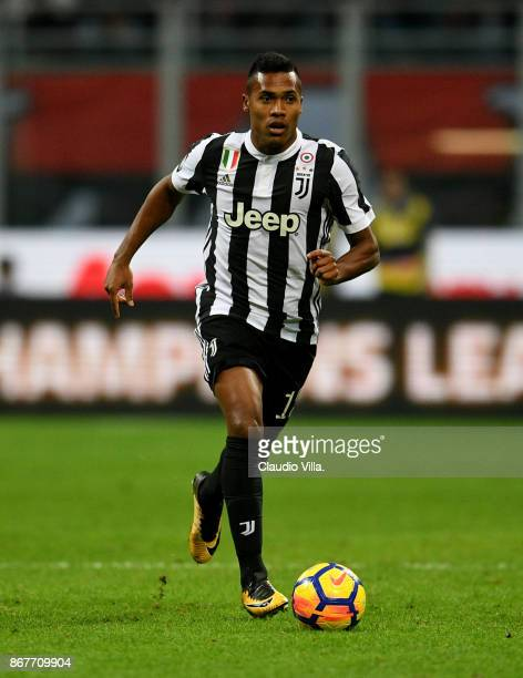 Alex Sandro of Juventus FC in action during the Serie A match between AC Milan and Juventus at Stadio Giuseppe Meazza on October 28 2017 in Milan...