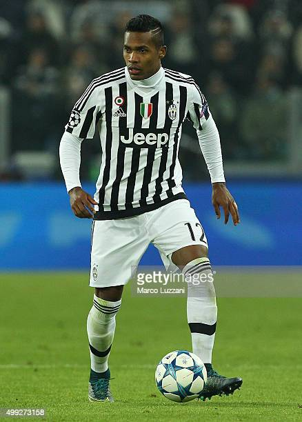 Alex Sandro of Juventus FC in action during the UEFA Champions League group stage match between Juventus and Manchester City FC at Juventus Arena on...