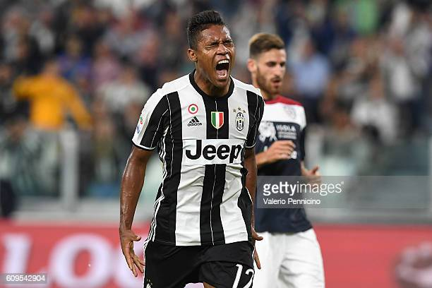 Alex Sandro of Juventus FC reacts during the Serie A match between Juventus FC and Cagliari Calcio at Juventus Stadium on September 21 2016 in Turin...