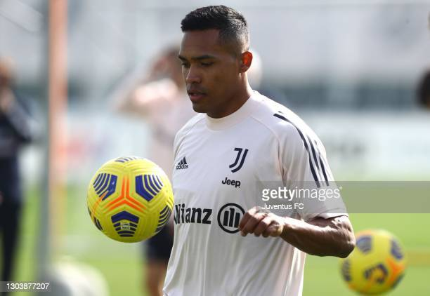 Alex Sandro of Juventus FC trains during Juventus FC training session at JTC on February 24, 2021 in Turin, Italy.