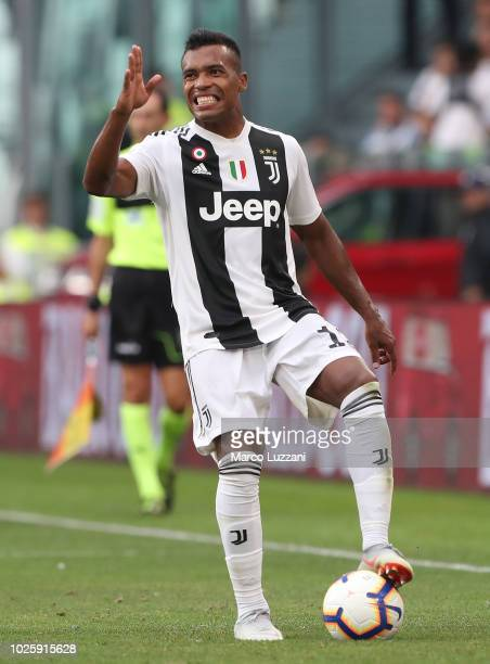 Alex Sandro of Juventus gestures during the Serie A match between Juventus and SS Lazio at Allianz Stadium on August 25 2018 in Turin Italy