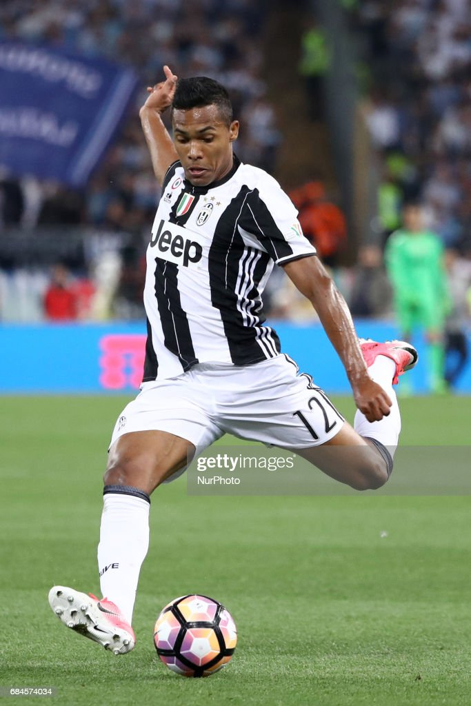 Alex Sandro of Juventus in action during the Coppa Italia final match between Juventus FC and SS Lazio at the Olympic Stadium on May 17, 2017 in Rome, Italy. Juventus won 2-0 against Lazio.