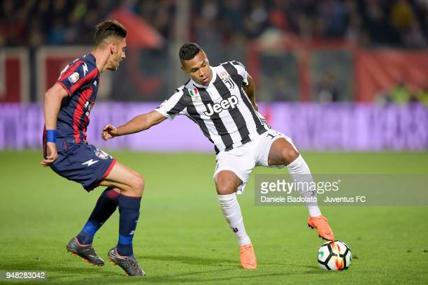 Alex Sandro of Juventus in action during the serie A match between FC Crotone and Juventus at Stadio Comunale Ezio Scida on April 18 2018 in Crotone...