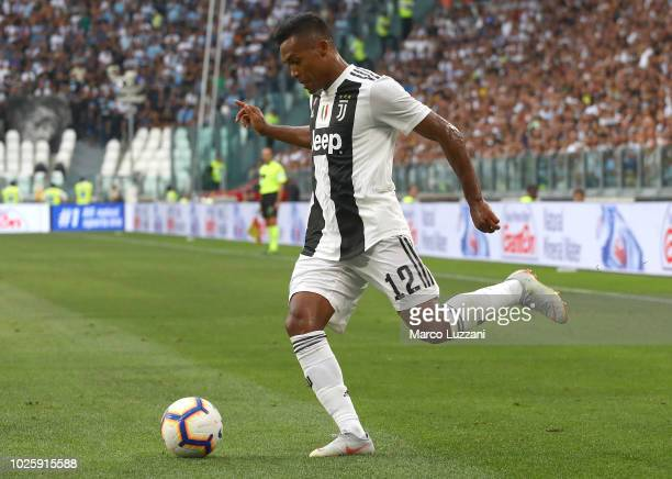 Alex Sandro of Juventus in action during the Serie A match between Juventus and SS Lazio at Allianz Stadium on August 25 2018 in Turin Italy