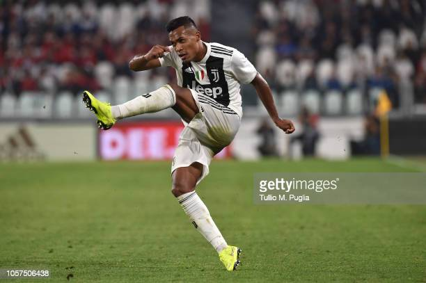 Alex Sandro of Juventus in action during the Serie A match between Juventus and Genoa CFC at Allianz Stadium on October 20 2018 in Turin Italy