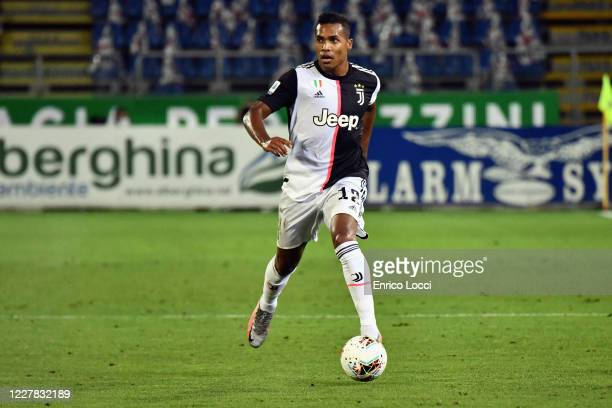 Alex Sandro of Juventus in action during the Serie A match between Cagliari Calcio and Juventus at Sardegna Arena on July 29, 2020 in Cagliari, Italy.