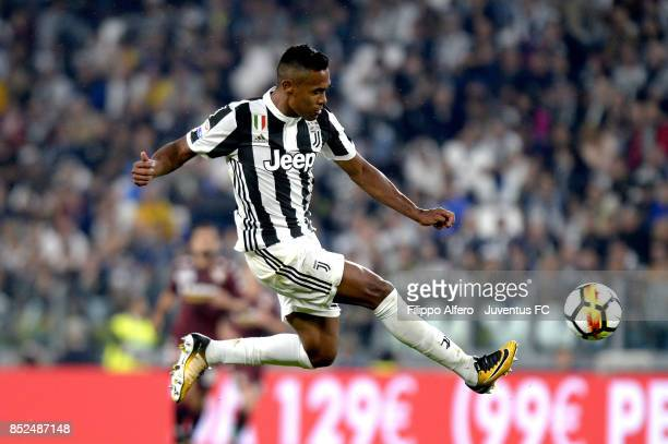 Alex Sandro of Juventus in action during the Serie A match between Juventus and Torino FC on September 23 2017 in Turin Italy