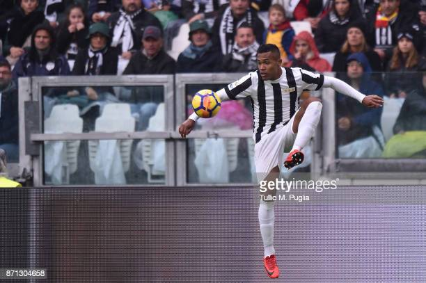 Alex Sandro of Juventus in action during the Serie A match between Juventus and Benevento Calcio on November 5 2017 in Turin Italy
