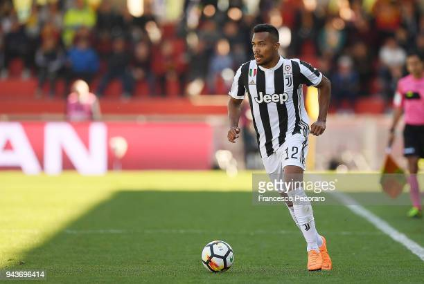 Alex Sandro of Juventus in action during the serie A match between Benevento Calcio and Juventus at Stadio Ciro Vigorito on April 7 2018 in Benevento...