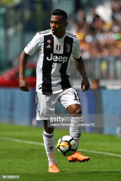 Alex Sandro of Juventus in action during the Serie A match between Juventus and Hellas Verona FC at Allianz Stadium on May 19 2018 in Turin Italy...