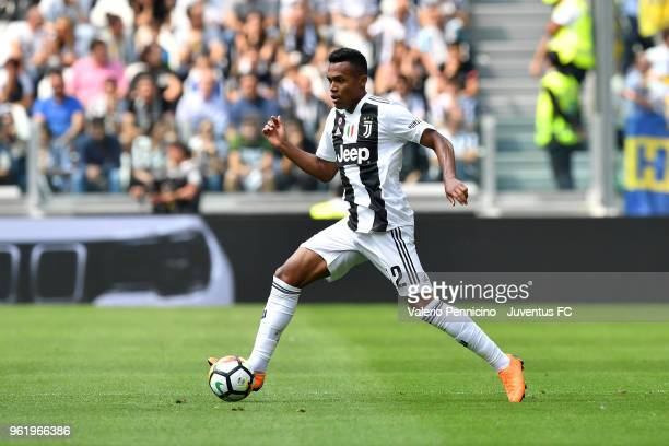 Alex Sandro of Juventus in action during the Serie A match between Juventus and Hellas Verona FC at Allianz Stadium on May 19 2018 in Turin Italy
