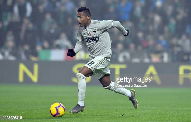 Alex Sandro of Juventus in action during the Serie A match between US Sassuolo and Juventus at Mapei Stadium Citta' del Tricolore on February 10 2019...