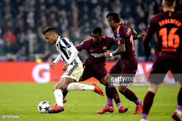 Alex Sandro of Juventus in action during the UEFA Champions League group D match between Juventus and FC Barcelona at Allianz Stadium on November 22...