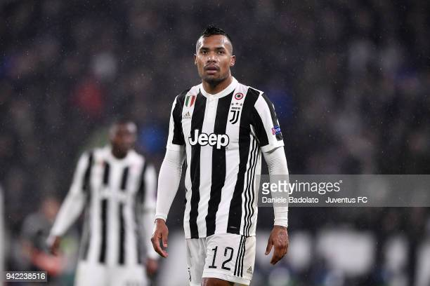 Alex Sandro of Juventus in action during the UEFA Champions League Quarter Final Leg One match between Juventus and Real Madrid at Allianz Stadium on...