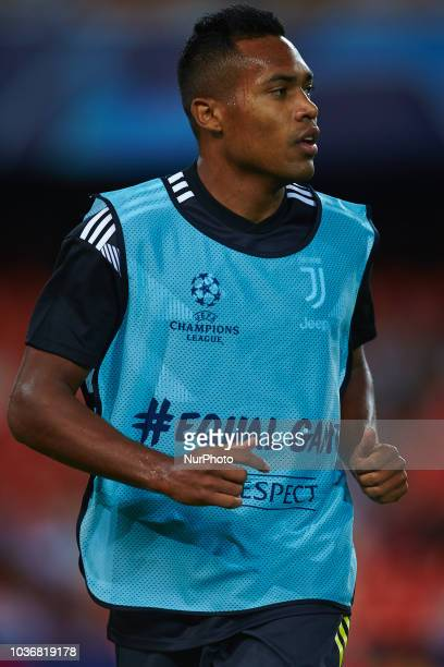 Alex Sandro of Juventus looks on during the UEFA Champions League group h match between Valencia CF and Juventus at Mestalla on September 19 2018 in...