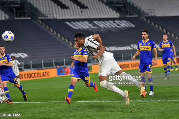 Alex Sandro of Juventus scores their side's second goal during the Serie A match between Juventus and Parma Calcio at Allianz Stadium on April 21,...