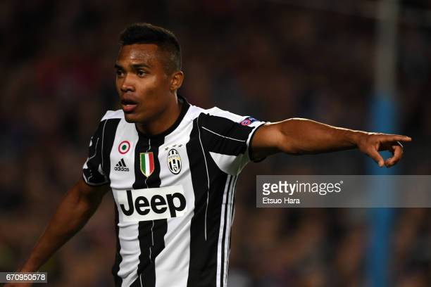 Alex Sandro of Jventus in action during the UEFA Champions League Quarter Final second leg match between FC Barcelona and Juventus at Camp Nou on...
