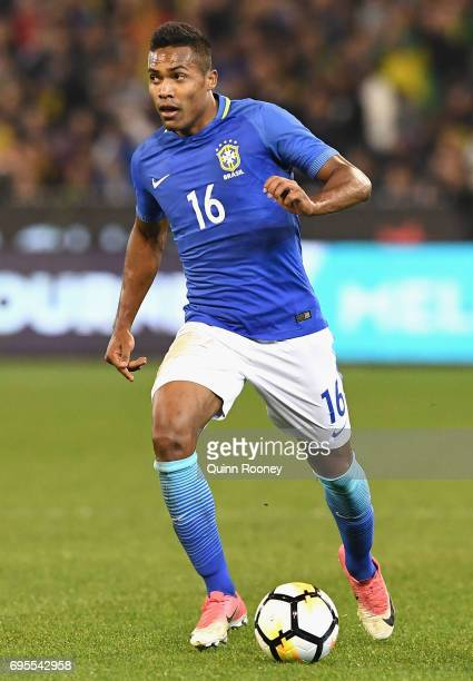 Alex Sandro Silva of Brazil looks to pass the ball during the Brasil Global Tour match between Australian Socceroos and Brazil at Melbourne Cricket...