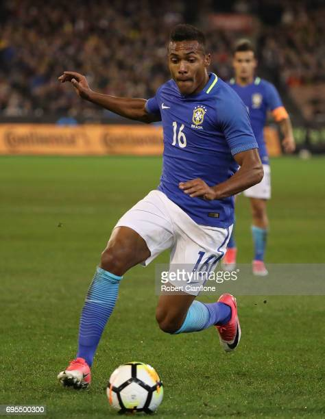 Alex Sandro Silva of Brazil runs with the ball during the Brasil Global Tour match between Australian Socceroos and Brazil at Melbourne Cricket...