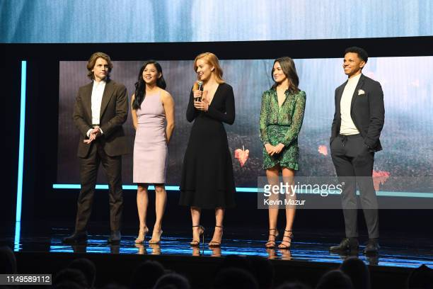 Alex Saxon Leah Lewis Kennedy McMann Maddison Jaizani and Tunji Kasim of Nancy Drew speak onstage during the The CW Network 2019 Upfronts at New York...