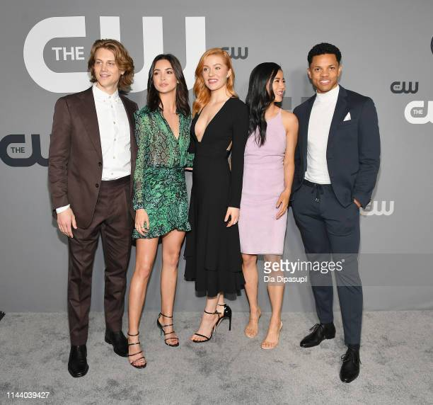 Alex Saxon Maddison Jaizani Kennedy McMann Leah Lewis and Tunji Kasim of Nancy Drew attends the 2019 CW Network Upfront at New York City Center on...
