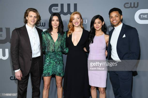 Alex Saxon Maddison Jaizani Kennedy McMann Leah Lewis and Tunji Kasim of Nancy Drew attend the The CW Network 2019 Upfronts at New York City Center...