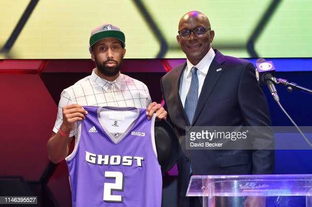 Alex Scales poses with BIG3 Commissioner Clyde Drexler after being drafted at by the Ghost Ballers in the second round during the BIG3 Draft at the...