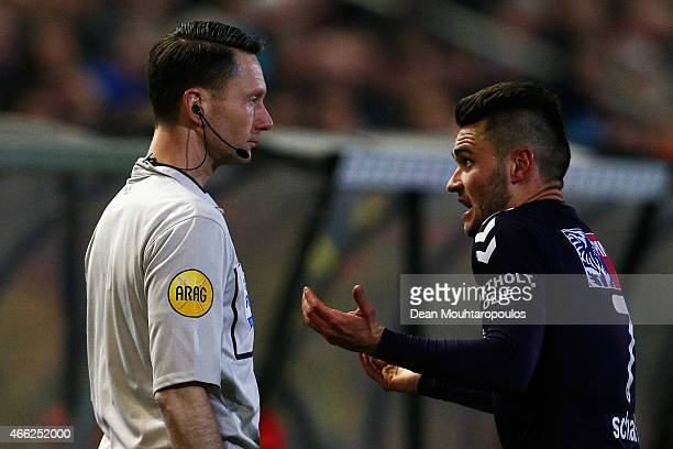 Alex Schalk of Go Ahead Eagles speaks to the linesman during the Dutch Eredivisie match between NAC Breda and Go Ahead Eagles held at the Rat Verlegh...