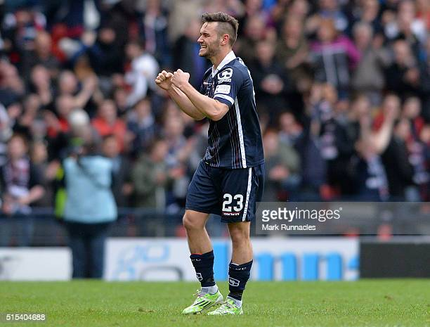 Alex Schalk of Ross County celebrates after scoring the winning goal during the Scottish League Cup Final between Hibernian FC and Ross County FC at...