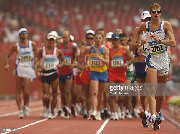 Alex Schwazer of Italy competes in the Men's 50km Walk at the National Stadium on Day 14 of the Beijing 2008 Olympic Games on August 22 2008 in...